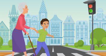 Ein anständiges Kind hilft der Oma über die Straße.